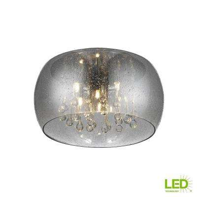 5-Light Chrome Glass Integrated LED Flushmount with Clear Glass Beads