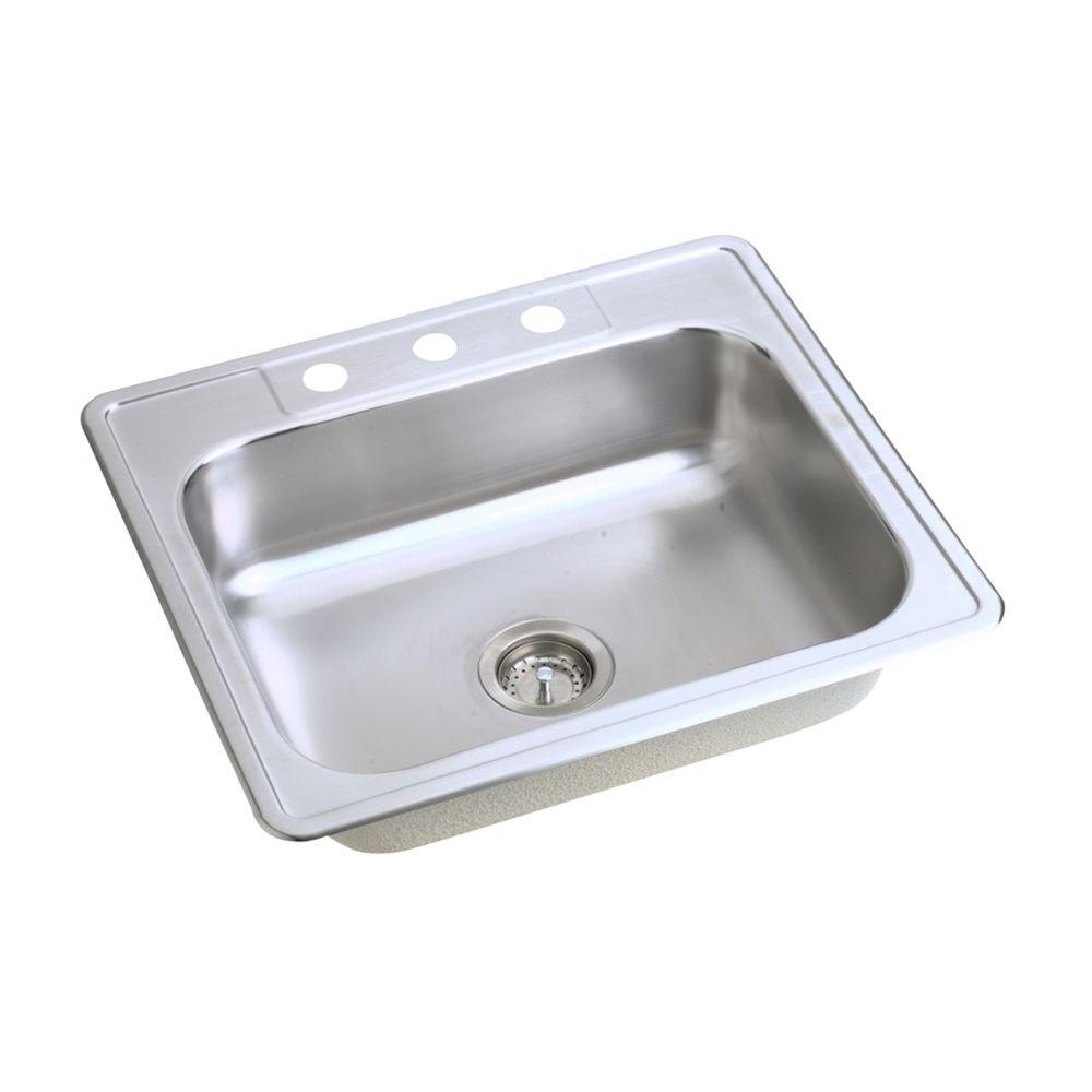 Elkay Dayton Drop-In Stainless Steel 25 in. 3-Hole Single Bowl ...