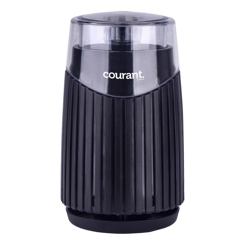 Coffee, Bean and Spices Grinder in Black Enjoy a fresh cup of coffee every morning with the Courant Coffee, Bean and Spices Grinder. The grinder is suitable for coffee, beans, spices, tea leaves, herbs and nuts. It comes with sturdy and durable base, stainless-steel bowl and stainless-steel blades that turns coarse coffee beans into freshly ground coffee. Provides 6-cups of coffee capacity in bowl. Transparent lid allows the fineness grade to be observed. Color: Black.