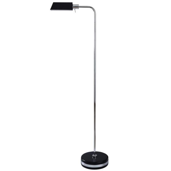 Drayton 65 in. Black, Polished Steel Floor Lamp