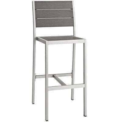 Shore Patio Aluminum Armless Outdoor Bar Stool in Silver Gray
