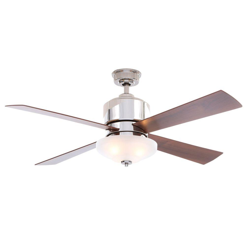 Hampton Bay Bay Island 52 In Indoor Desert Patina Ceiling Fan With Light Kit 14198 The Home Depot