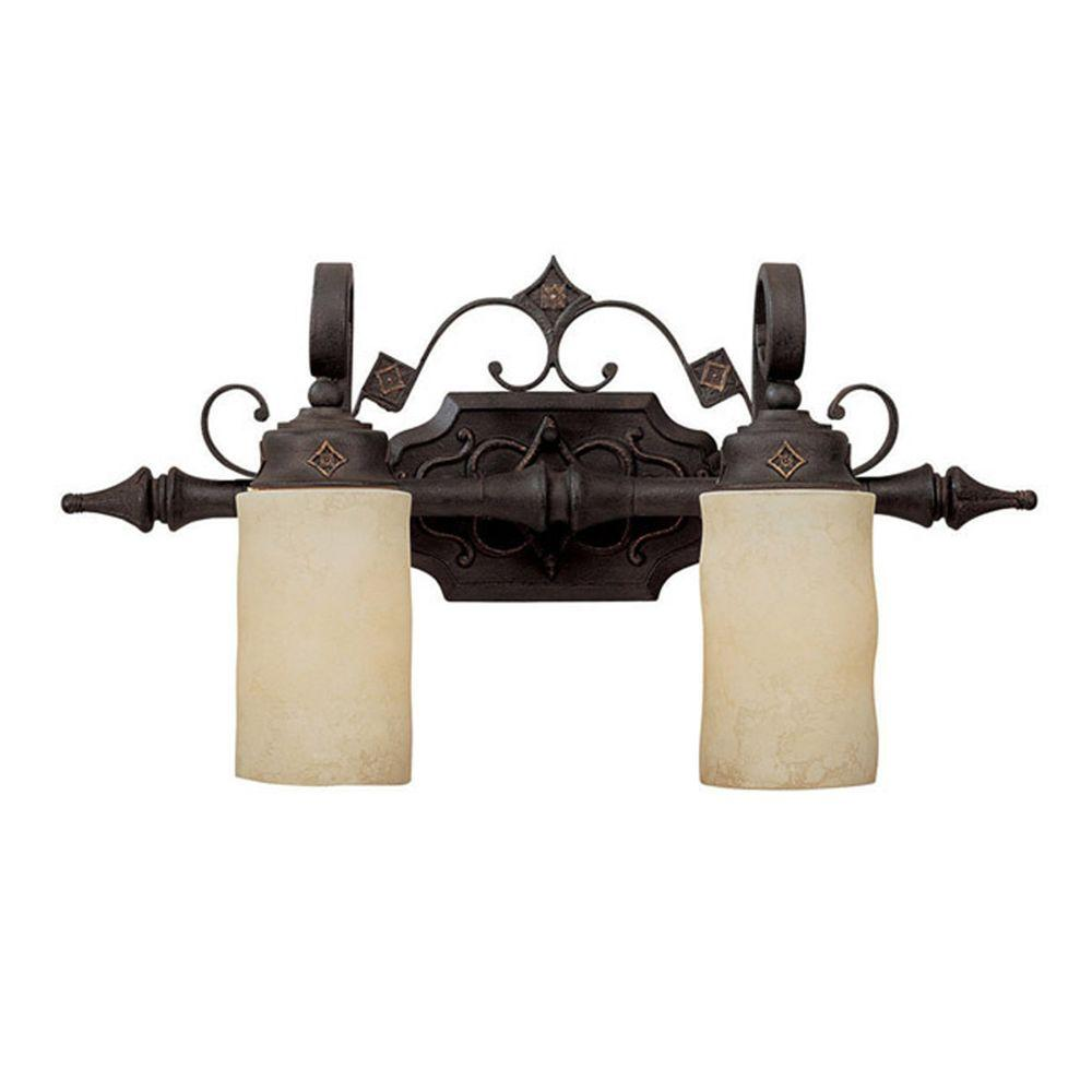 Filament Design Johnson Collection 2-Light Rustic Iron Vanity Light with Scavo Glass