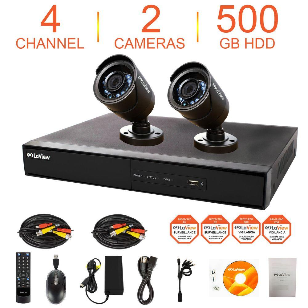 LaView 4-Channel 960H Indoor/Outdoor Surveillance System with 500GB HDD and (2) 600TVL Camera