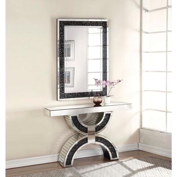 Acme Furniture Noor Mirrored And Faux Gemstones Accent Mirror 97391