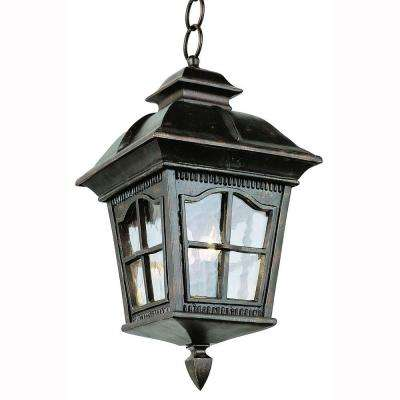Bostonian 4-Light Outdoor Hanging Antique Rust Lantern with Water Glass
