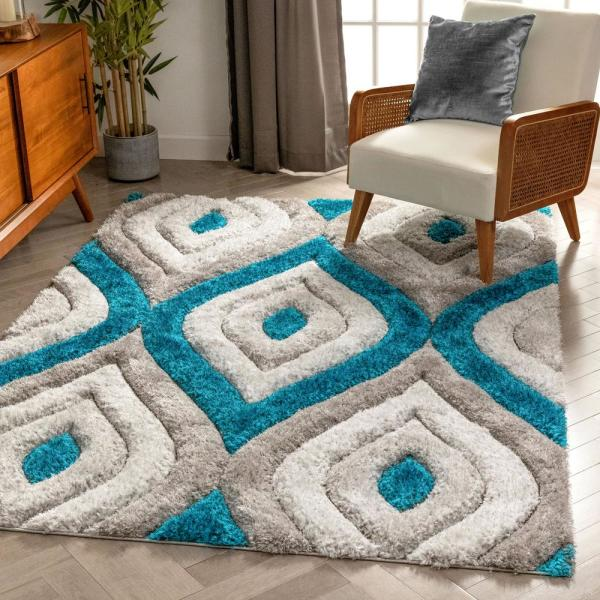 Well Woven San Francisco Malibu Blue Modern Trellis Ogee 3 Ft 11 In X 5 Ft 3 In 3d Carved Shag Area Rug Sf 14 4 The Home Depot