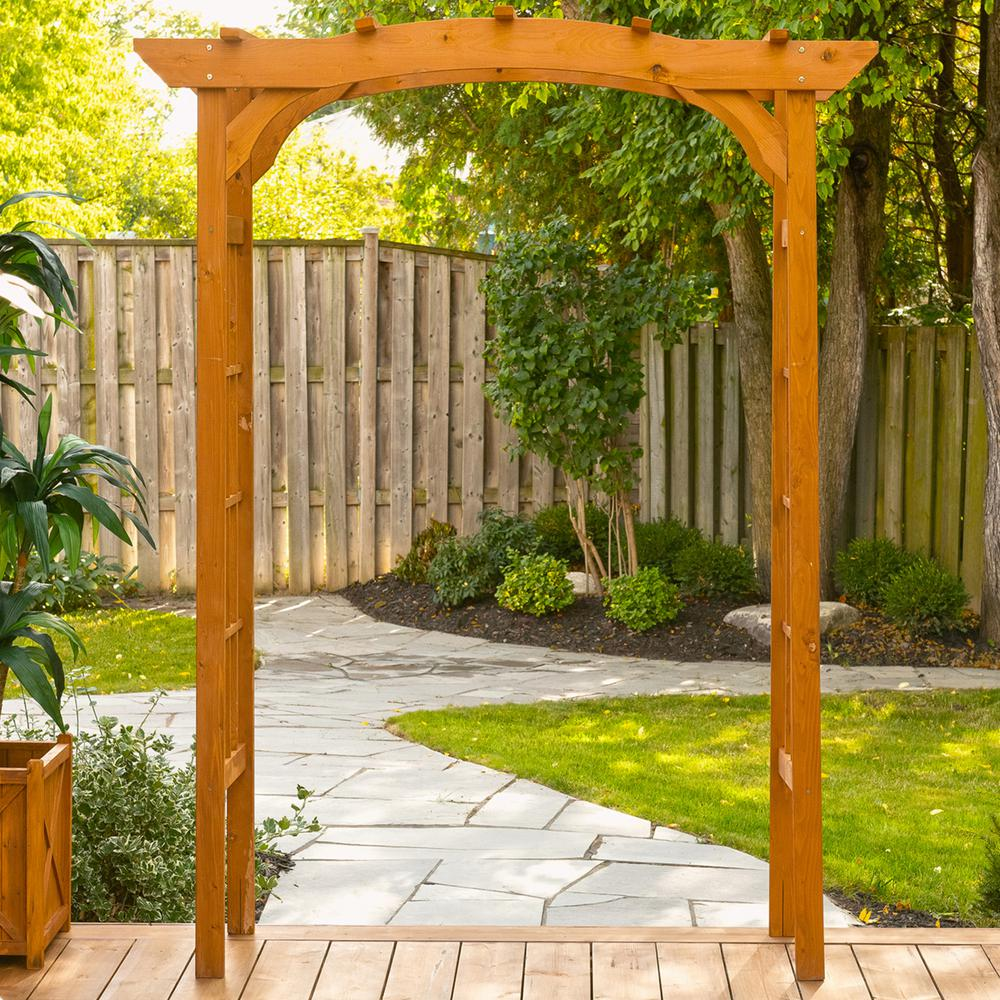 Leisure Season 60 In W X 24 In D X 80 In H Wooden Brown Arbor
