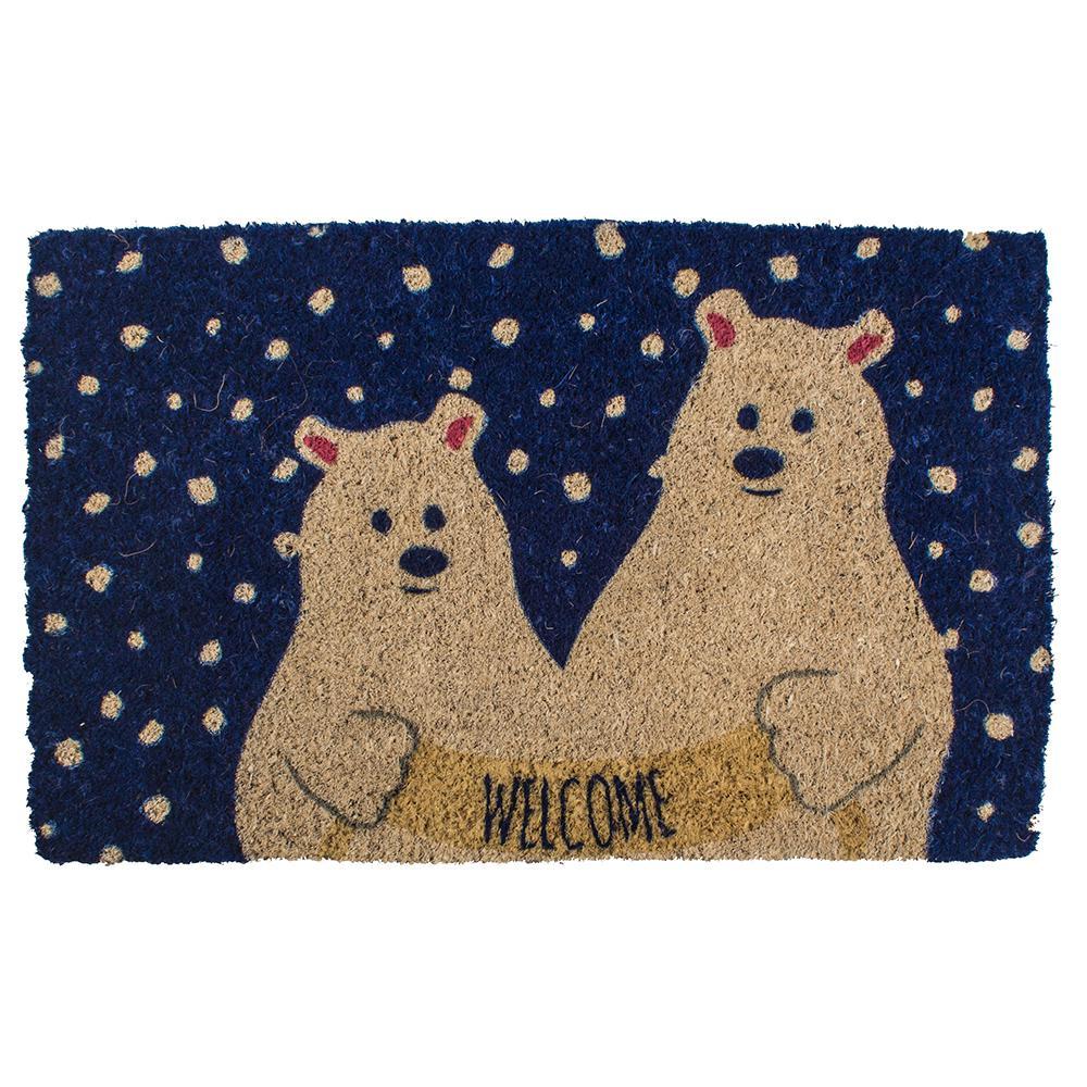 Polar Bears 18 in. x 30 in. Hand Woven Coconut Fiber Door Mat