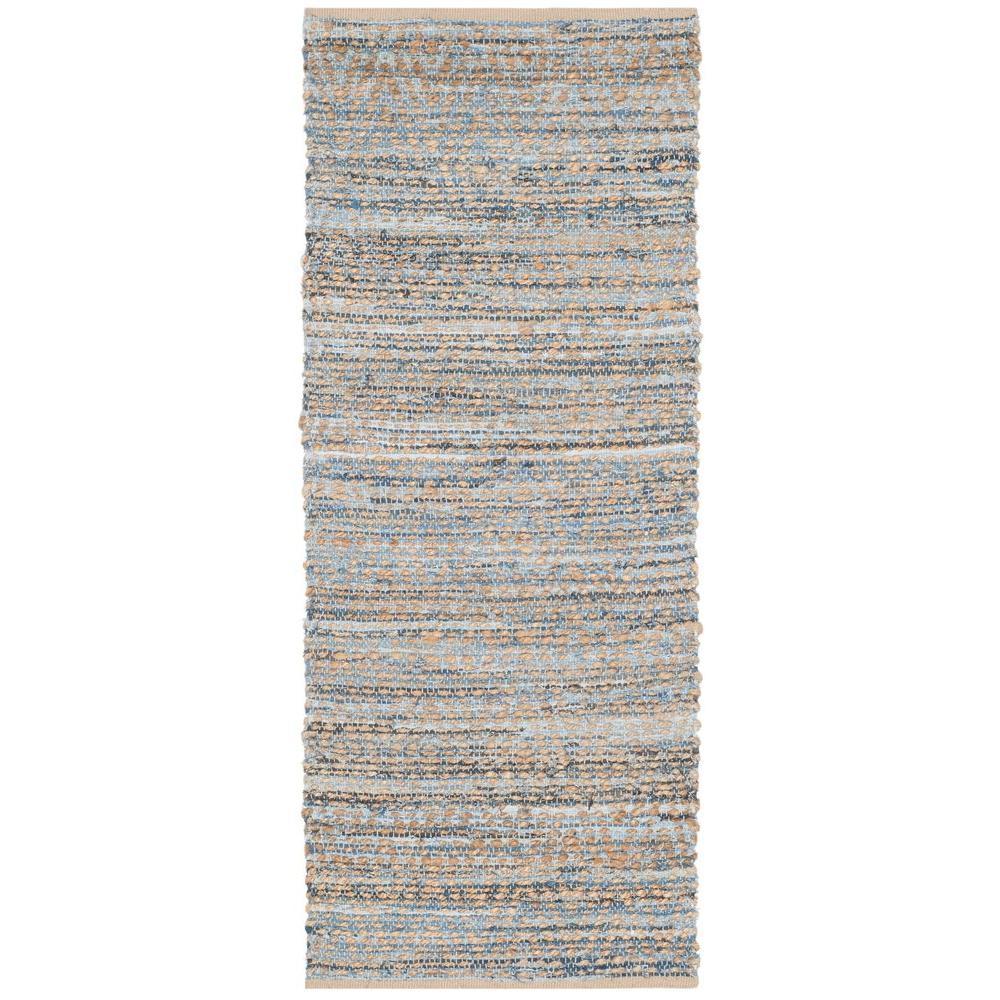 Cape Cod Natural/Blue 2 ft. x 8 ft. Runner Rug