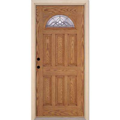37.5 in. x 81.625 in. Lakewood Zinc Fan Lite Stained Light Oak Right-Hand Inswing Fiberglass Prehung Front Door