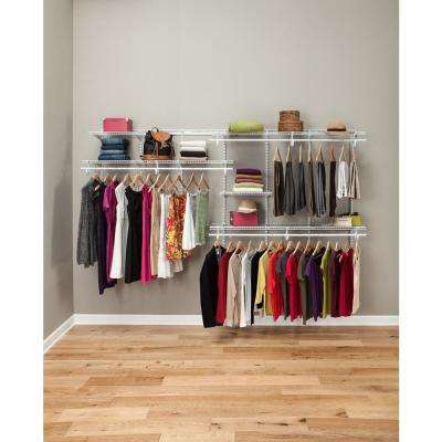 ShelfTrack 7 ft. to 10 ft. White Wire Closet Organizer Kit