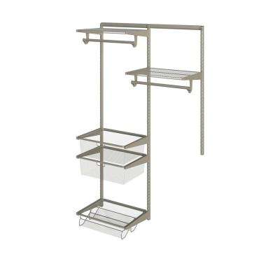 Closet Culture 16 in. x 48 in. W x 78 in. H Wire Closet System with 2 Champagne Nickel Shelves