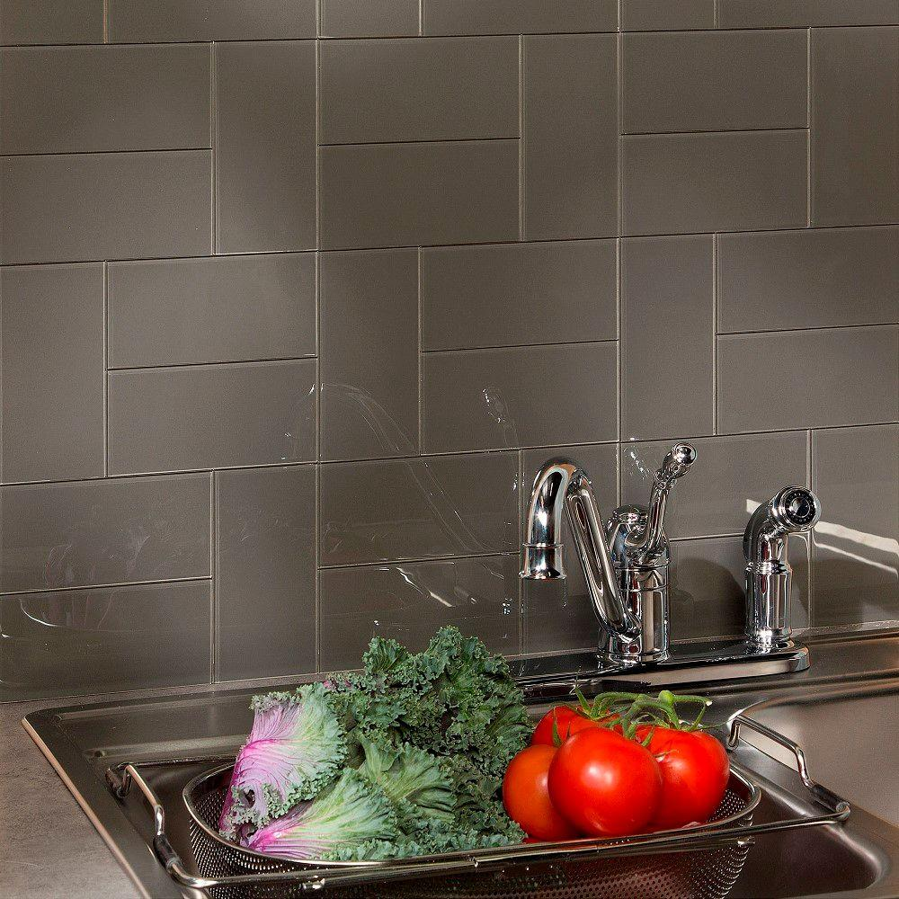 ASPECT 6 in. x 3 in. Leather Glass Decorative Wall Tile (...