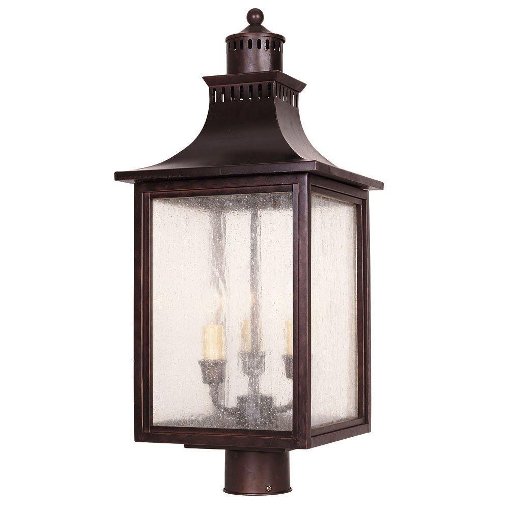 3-Light Post Lantern English Bronze Finish Pale Cream Seeded Glass