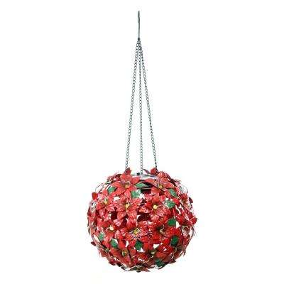 Solar Christmas Hanging Poinsettia Ornament with LED Light, Indoor and Outdoor, Red