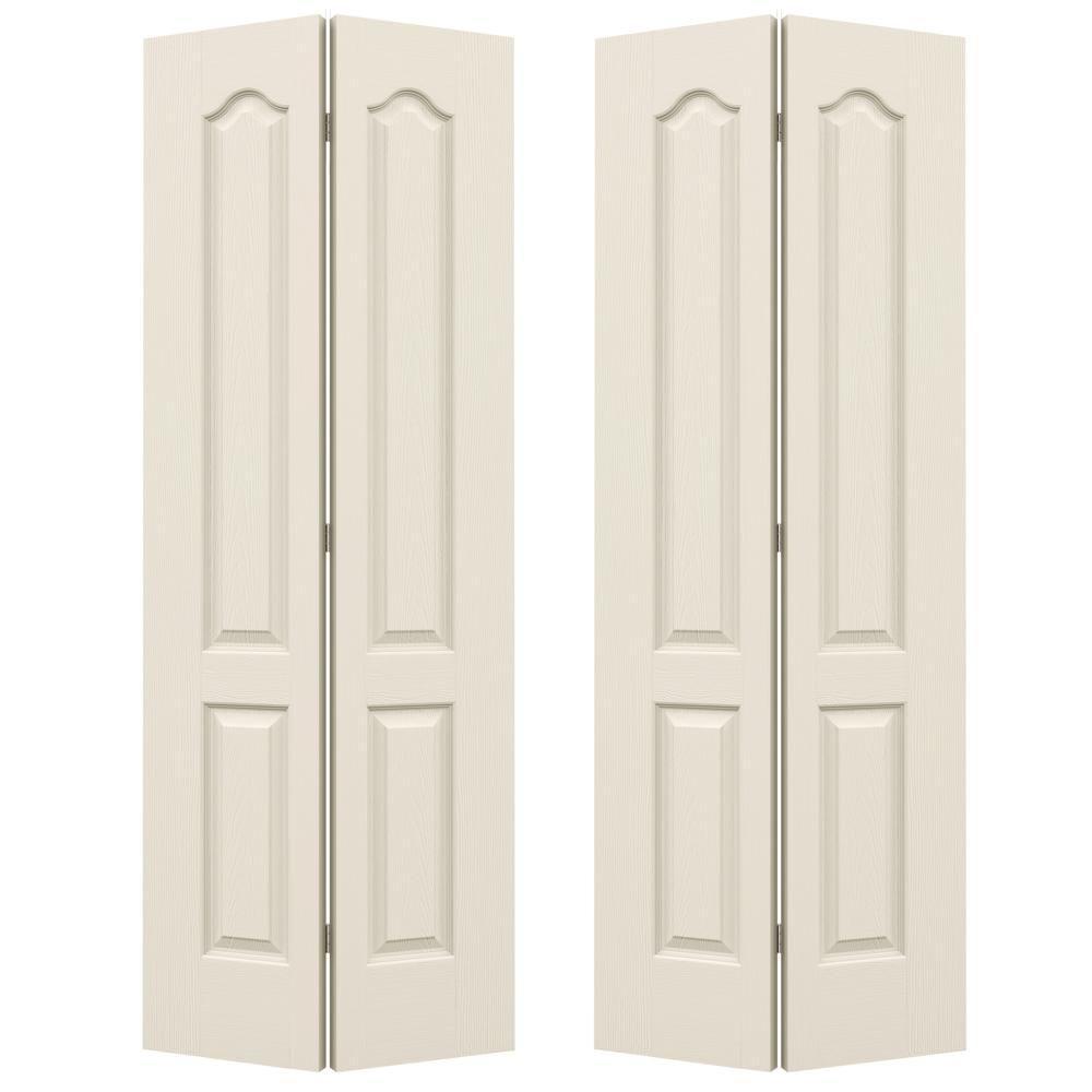 Woodgrain 2-Panel Arch Top Hollow Core Molded Interior Closet Bi-fold Door