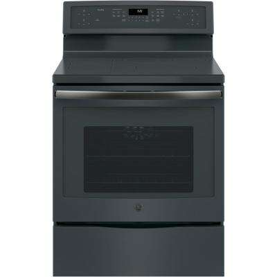 Profile 30 in. Free-Standing Convection Range with Induction in Black Slate, Fingerprint Resistant