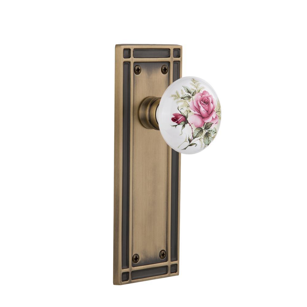 Mission Plate Single Dummy White Rose Porcelain Door Knob in Antique Brass