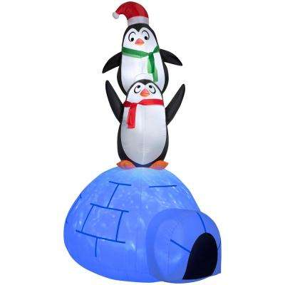 8 ft. Inflatable Airblown Kaleidoscope Igloo with Penguins