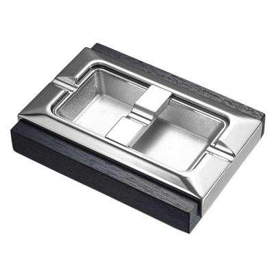 Stadium Dard Wood and Metal Rectangular Cigar Ashtray