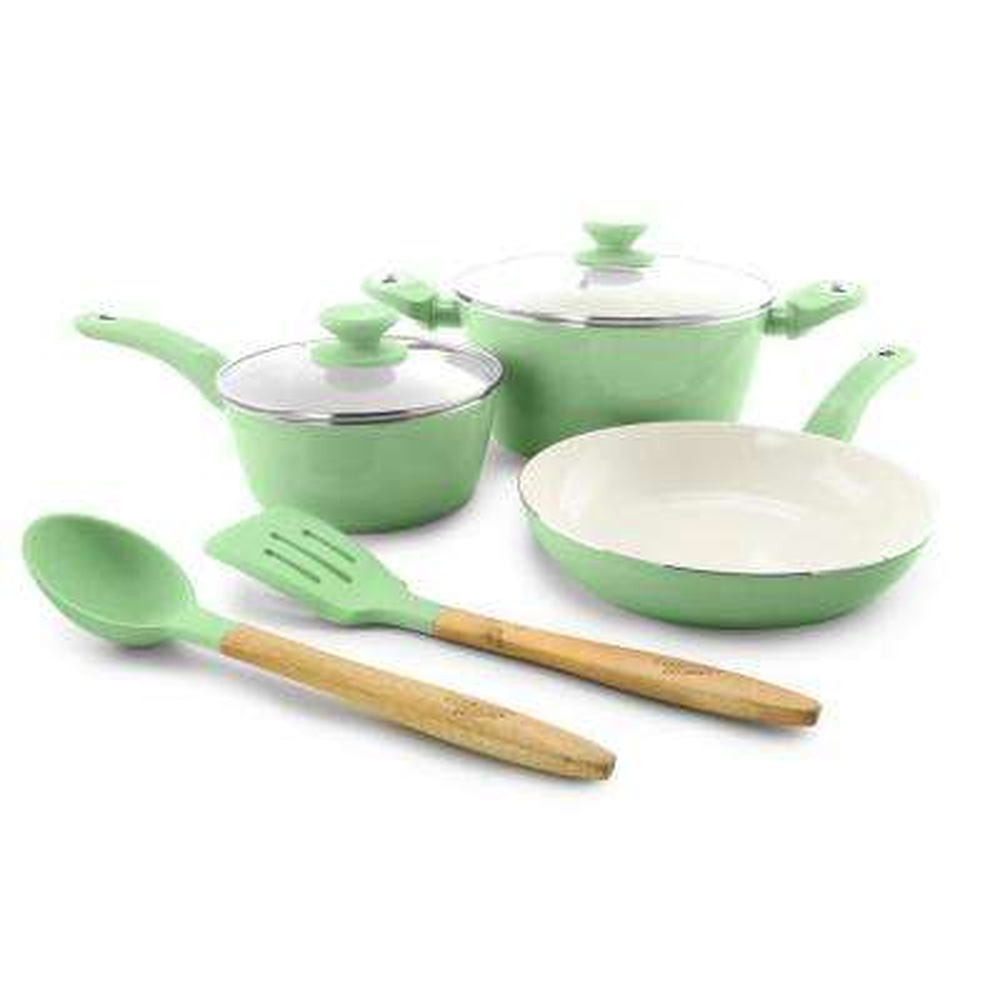 Plaza Cafe 7-Piece Mint Cookware Set