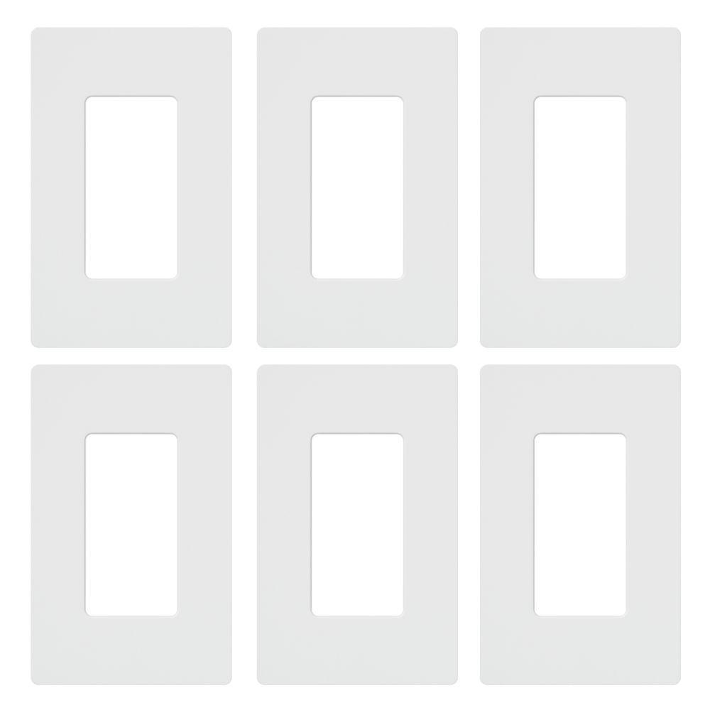 Claro 1 Gang Decorator/Rocker Wallplate, White (6-Pack)