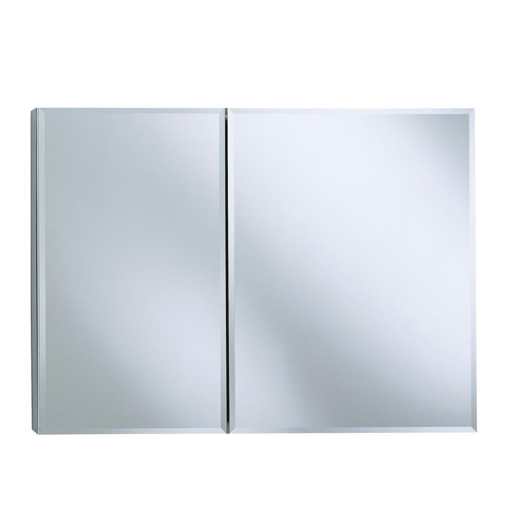 KOHLER 35 in. W x 26 in. H Two-Door Recessed or Surface Mount Medicine Cabinet in Silver Aluminum