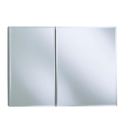 35 in. W x 26 in. H Two-Door Recessed or Surface Mount Medicine Cabinet in Silver Aluminum