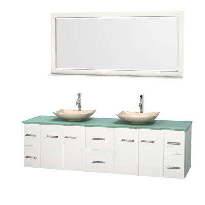 Centra 80 in. Double Vanity in White with Glass Vanity Top in Green, Ivory Marble Sinks and 70 in. Mirror