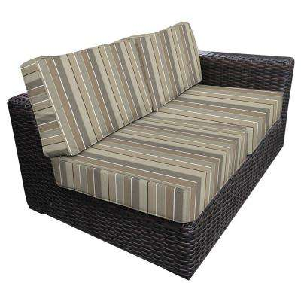 Santa Monica Patio Wicker Left Arm Outdoor Sectional Chair with Sunbrella Milano Char Cushion
