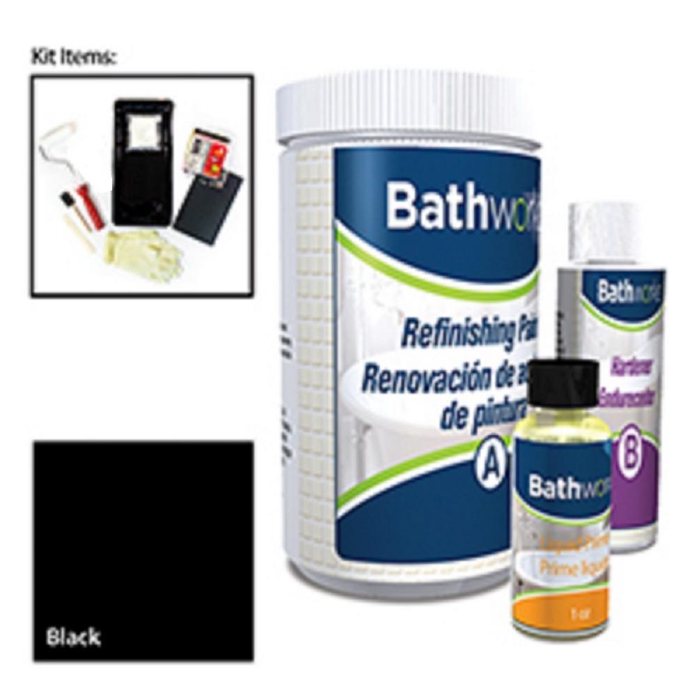BATHWORKS 20 oz. DIY Bathtub and Tile Refinishing Kit- Black