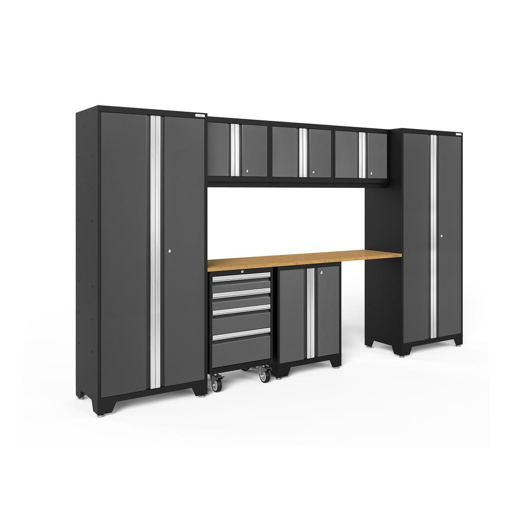 NewAge Products Bold Series 132 in. W x 77.25 in. H x 18 in. D 24-Gauge Steel Garage Cabinet Set in Gray (8-Piece)