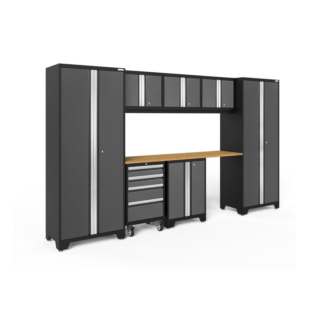 Bold Series 132 in. W x 77.25 in. H x 18 in. D 24-Gauge Steel Garage Cabinet Set in Gray (8-Piece)