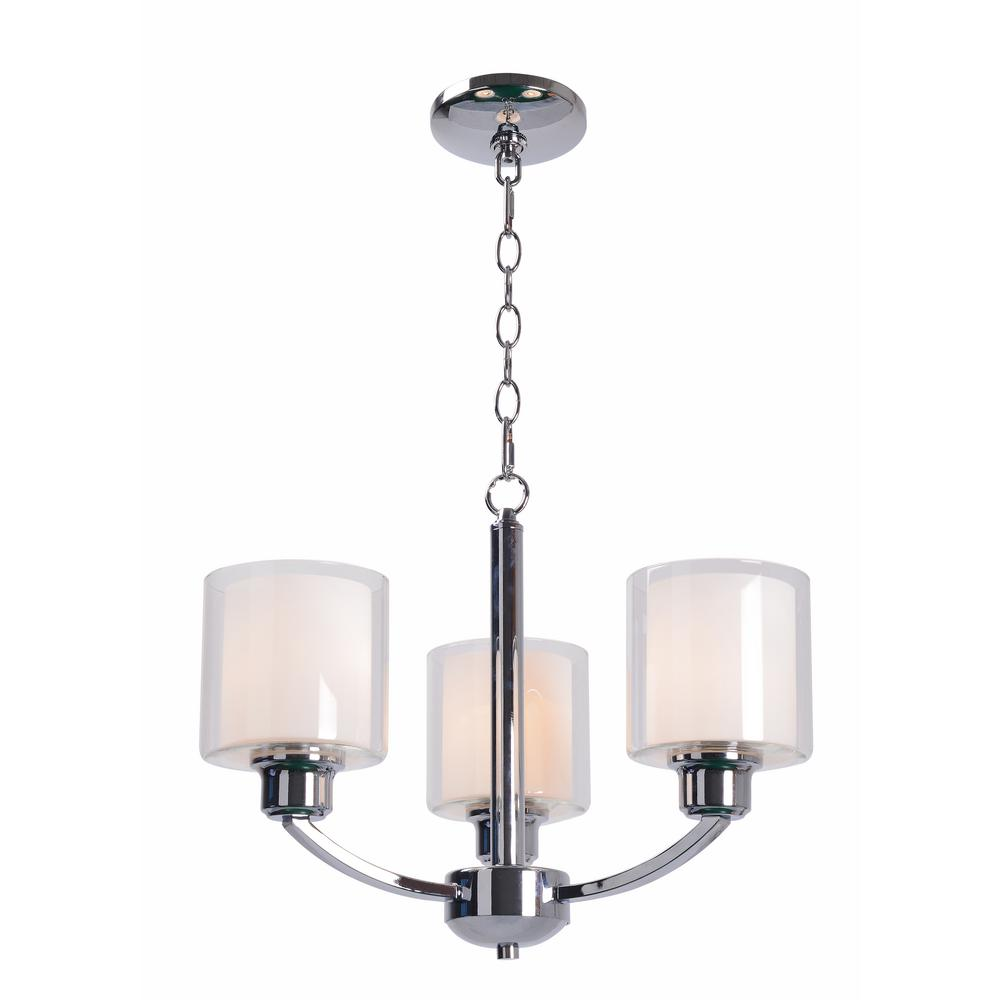 Luna 3-Light Chrome Chandelier with White Glass Shade