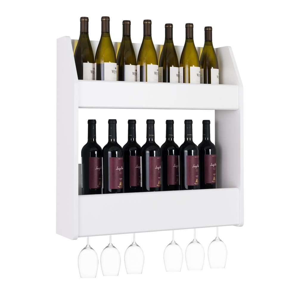 24-Bottle White 2-Tier Floating Wine and Liquor Rack