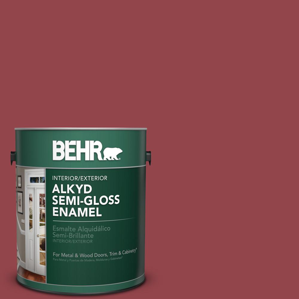 1 gal. #M140-6 Circus Red Semi-Gloss Enamel Alkyd Interior/Exterior Paint