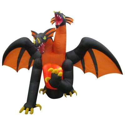 11 ft. Animated Projection Inflatable-Fire and Ice-2-Headed Dragon (RRY)