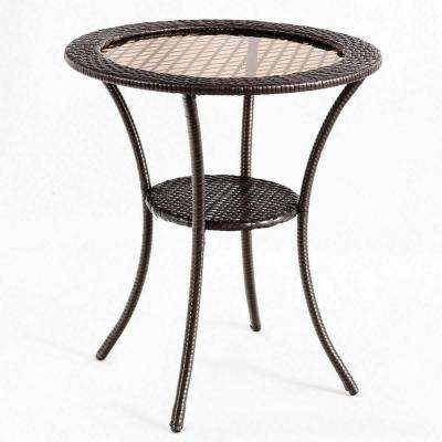 Round Rattan Wicker Outdoor Coffee Table Glass Top Steel Frame Patio Furni W/Lower Shelf