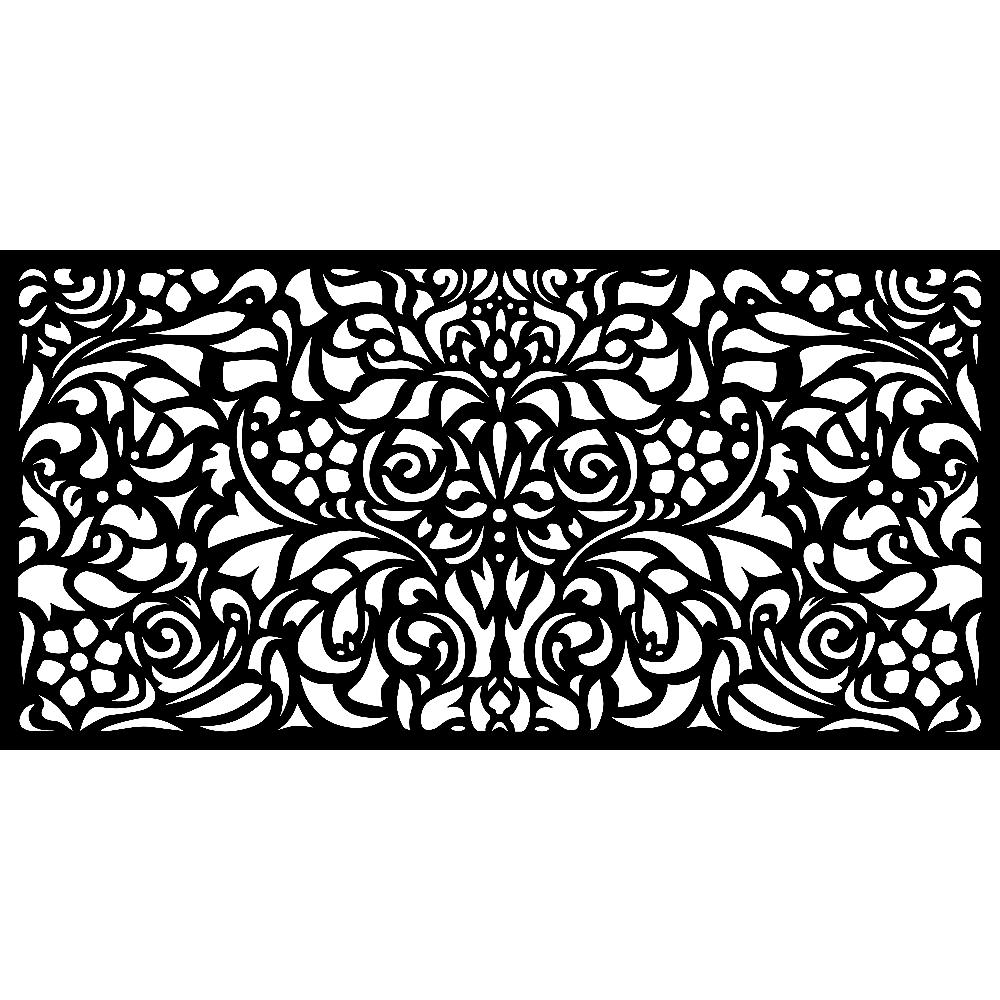 Matrix 0.3 in. x 45.7 in. x 1.9 ft. Recycled Plastic Charcoal Baroque Wall Art