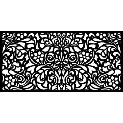 0.3 in. x 45.7 in. x 1.9 ft. Recycled Plastic Charcoal Baroque Wall Art