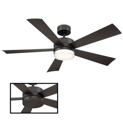Wynd 52 in. LED Indoor/Outdoor Bronze 5-Blade Smart Ceiling Fan with 3000K Light Kit and Wall Control