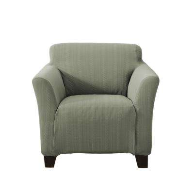 Darla Collection Tea Green Luxurious Cable Knit Stretch Fit Form Fitting Chair Slipcover