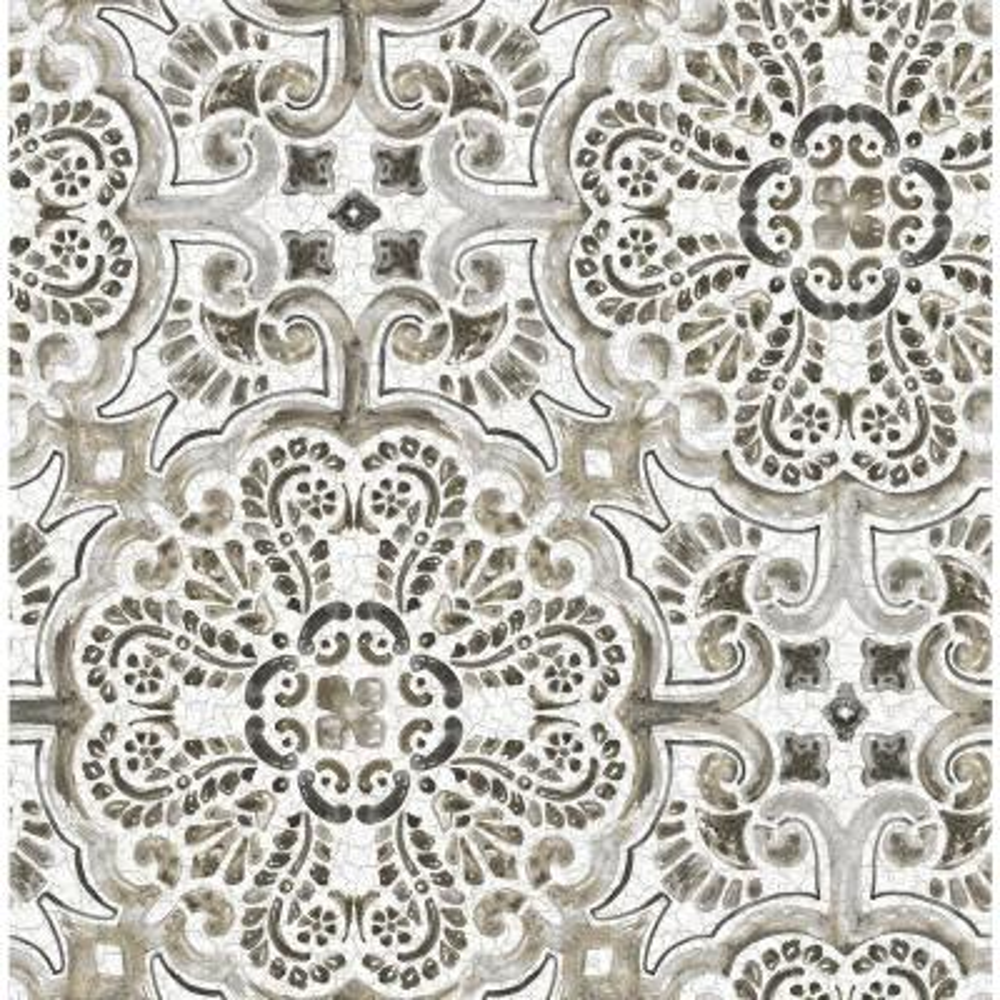 Black Florentine Tile Peel and Stick Wallpaper