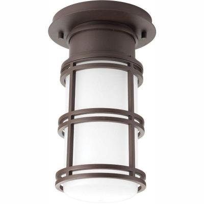 Bell Collection 1-Light Antique Bronze LED Outdoor Flushmount