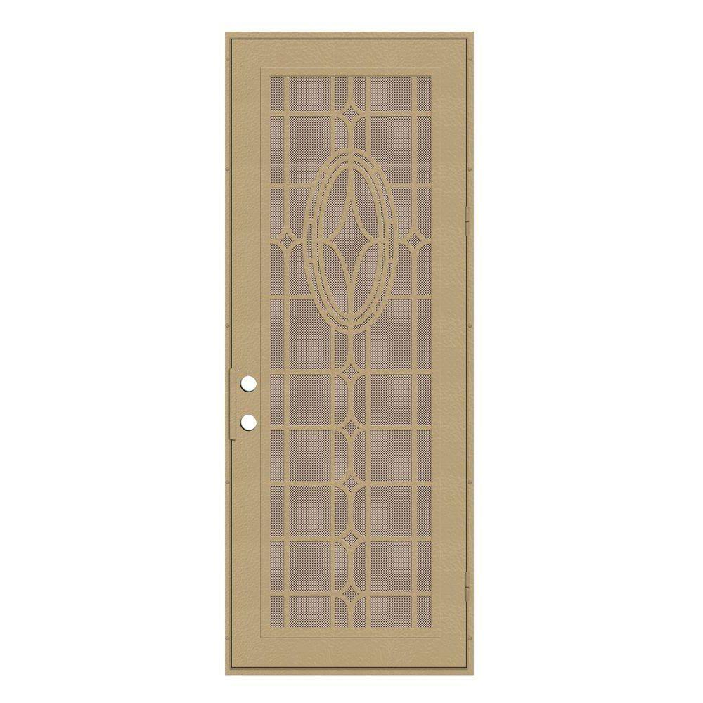 Unique Home Designs 36 in. x 96 in. Modern Cross Desert Sand Right-Hand Surface Mount Security Door with Desert Sand Perforated Screen