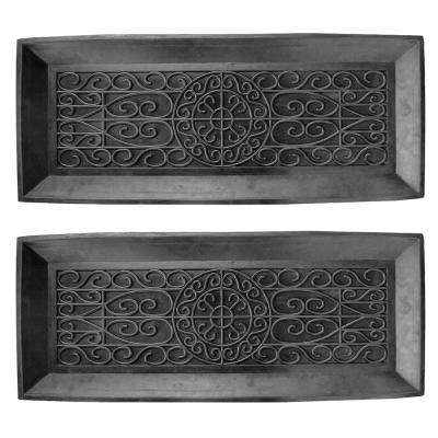 Black 14 in. x 34 in. Rubber Boot Tray (2-Piece)