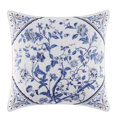16 in. x 16 in. Charlotte China Blue Throw Pillow