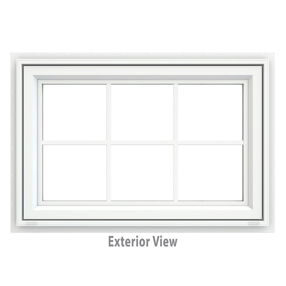 JELD-WEN 35.5 in. x 23.5 in. V-4500 Series Awning Vinyl Window with Grids - White