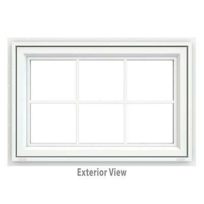 35.5 in. x 23.5 in. V-4500 Series Awning Vinyl Window with Grids - White